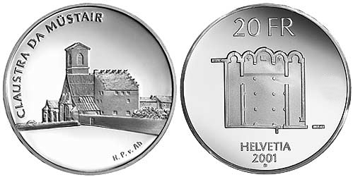 20 francs Müstair Monastery - 2001 - Series: Silver 20 francs coins - Switzerland