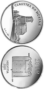Image of 20 francs coin – Müstair Monastery | Switzerland 2001.  The Silver coin is of Proof, BU quality.