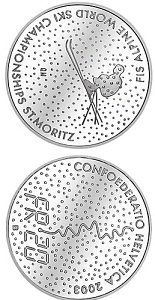 Image of The Alpine World Ski Championships – 20 franc coin Switzerland 2003.  The Silver coin is of Proof, BU quality.