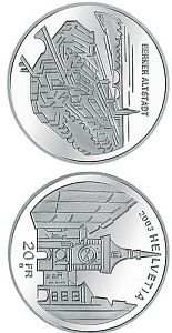 Image of 20 francs coin – The old town of Bern | Switzerland 2003.  The Silver coin is of Proof, BU quality.
