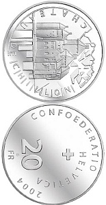 Image of 20 francs coin - Schloss Chillon | Switzerland 2004.  The Silver coin is of Proof, BU quality.