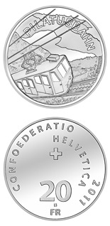 Image of 20 francs coin – Pilatus Railway | Switzerland 2011.  The Silver coin is of Proof, BU quality.