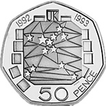 Image of 50 pence coin United Kingdom's Presidency of the Council of Ministers and the completion of the Single European Market | United Kingdom 1992.  The Copper–Nickel (CuNi) coin is of UNC quality.