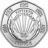 Image of 50 pence coin 50th Anniversary of the National Health Service | United Kingdom 1998.  The Copper–Nickel (CuNi) coin is of UNC quality.