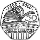 Image of 50 pence coin – 150th Anniversary of the Public Libraries Act | United Kingdom 2000.  The Copper–Nickel (CuNi) coin is of UNC quality.