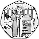 Image of 50 pence coin – 100th Anniversary of the formation of the Women's Social and Political Union | United Kingdom 2003.  The Copper–Nickel (CuNi) coin is of UNC quality.