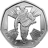 Image of 50 pence coin 150th Anniversary of the institution of the Victoria Cross | United Kingdom 2006.  The Copper–Nickel (CuNi) coin is of UNC quality.