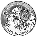 Image of 10 hryvnia  coin – Larix Polonica Racib | Ukraine 2001.  The Silver coin is of Proof quality.