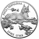 Image of 10 hryvnia  coin Lynx lynx | Ukraine 2001.  The Silver coin is of Proof quality.