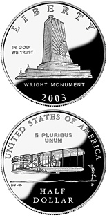 Image of 0.5 dollar coin – First Flight Centennial | USA 2003.  The Copper–Nickel (CuNi) coin is of Proof, BU quality.