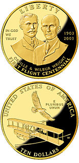 Image of First Flight Centennial – 10 dollar coin USA 2003.  The Gold coin is of Proof, BU quality.