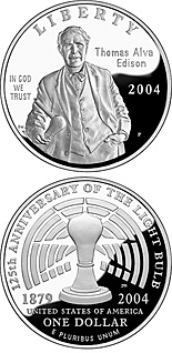 1 dollar coin Thomas Alva Edison | USA 2004