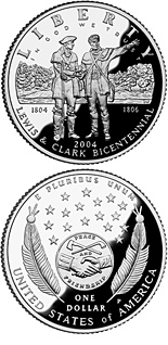Image of 1 dollar coin - Lewis & Clark Bicentennial | USA 2004.  The Silver coin is of Proof, BU quality.