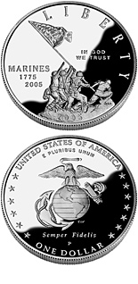1 dollar MARINE CORPS 230th Anniversary  - 2005 - Series: Commemorative silver 1 dollar coins - USA