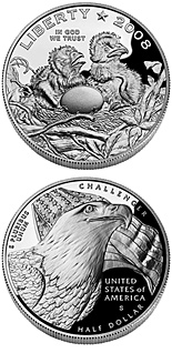 Image of 0.5 dollar coin – Bald Eagle | USA 2008.  The Copper–Nickel (CuNi) coin is of Proof, BU quality.