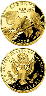 5 dollar coin Bald Eagle | USA 2008