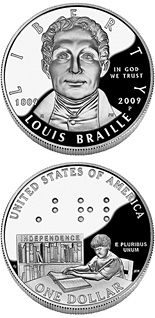 1 dollar Louis Braille - 2009 - Series: Commemorative silver 1 dollar coins - USA