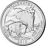 25 cents Yellowstone National Park, WY  - 2010 - Series: America the Beautiful Quarters - USA