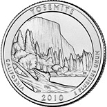 Image of a coin 25 cents | USA | Yosemite National Park, CA  | 2010