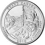Image of 25 cents coin - Grand Canyon National Park, AZ  | USA 2010.  The Copper–Nickel (CuNi) coin is of Proof, BU, UNC quality.