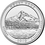 Image of 25 cents coin – Mt. Hood National Forest, OR  | USA 2010.  The Copper–Nickel (CuNi) coin is of Proof, BU, UNC quality.