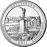 25 cents Gettysburg National Military Park, PA  - 2011 - Series: America the Beautiful Quarters - USA