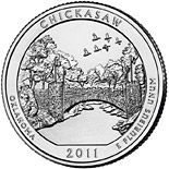 25 cents Chickasaw National Recreation Area, OK  - 2011 - Series: America the Beautiful Quarters - USA