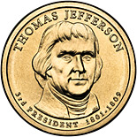 1 dollar Thomas Jefferson (1801-1809) - 2007 - Series: The Presidential 1 Dollar Coins - USA