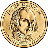 Image of 1 dollar coin - James Madison (1809-1817) | USA 2007.  The Nordic gold (CuZnAl) coin is of Proof, BU, UNC quality.
