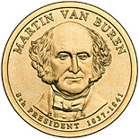 Image of Martin Van Buren (1837-1841) – 1 dollar coin USA 2008.  The Nordic gold (CuZnAl) coin is of Proof, BU, UNC quality.