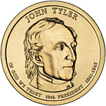 Image of 1 dollar coin – John Tyler (1841-1845) | USA 2009.  The Nordic gold (CuZnAl) coin is of Proof, BU, UNC quality.