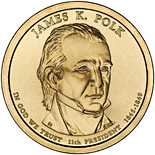 Image of James K. Polk (1845-1849) – 1 dollar coin USA 2009.  The Nordic gold (CuZnAl) coin is of Proof, BU, UNC quality.