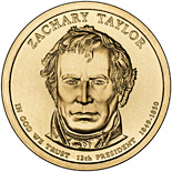 Image of 1 dollar coin - Zachary Taylor (1849-1850) | USA 2009.  The Nordic gold (CuZnAl) coin is of Proof, BU, UNC quality.