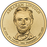 Image of 1 dollar coin - Abraham Lincoln (1861-1865) | USA 2010.  The Nordic gold (CuZnAl) coin is of Proof, BU, UNC quality.